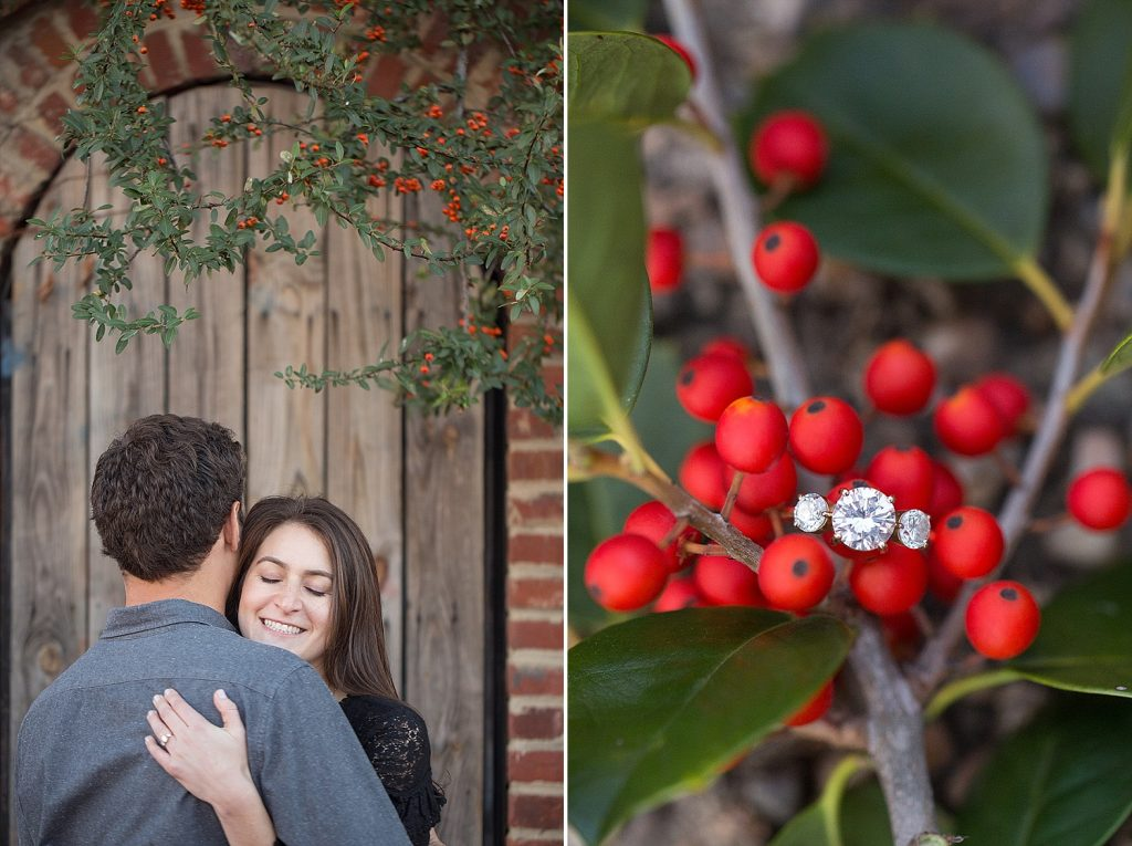 engaged couple hugging in Blagden Alley engagement photo